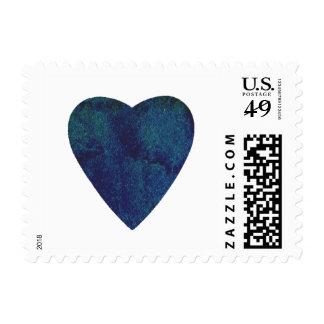 Corazón azul marino de la acuarela sellos postales