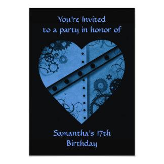 "Corazón azul marino romántico 5x7 del steampunk "" invitación 5"" x 7"""
