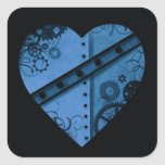 Corazón azul marino romántico del steampunk calcomanías cuadradass