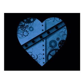 Corazón azul marino romántico del steampunk postal