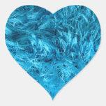 Corazón azul mullido de la piel calcomania corazon