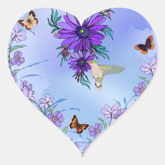 Corazón azul pegatina en forma de corazón