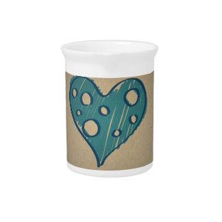 Corazón azul retro Diseño del vintage de la sepia Jarras De Beber