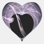 Corazón azul y púrpura del arte del fractal pegatina corazón personalizadas