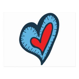 Corazón azul y rojo tarjetas postales