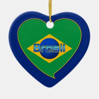 Corazón Bandera de BRASIL color nacional brasileño Adorno Navideño De Cerámica En Forma De Corazón