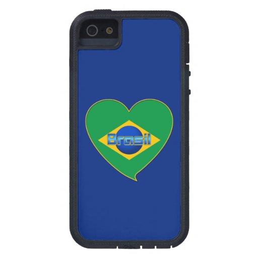 Corazón Bandera de BRASIL color nacional brasileño Funda Para iPhone 5 Tough Xtreme