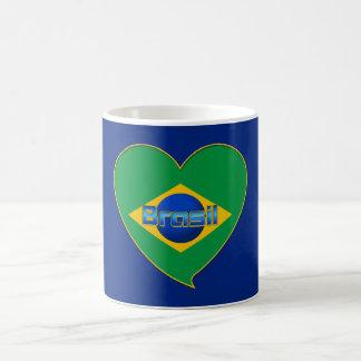 Corazón Bandera de BRASIL color nacional brasileño Taza De Café