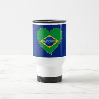 Corazón Bandera de BRASIL color nacional brasileño Taza De Viaje