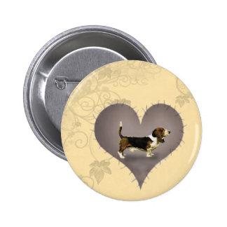 Corazón Basset Hound Pin
