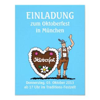 """Corazón bávaro del pan de jengibre de Oktoberfest Invitación 4.25"""" X 5.5"""""""