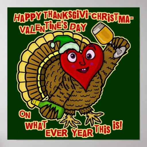 Corazón bebido día de fiesta divertido de Turquía Póster