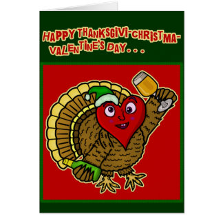 Corazón bebido día de fiesta divertido de Turquía Tarjeta De Felicitación