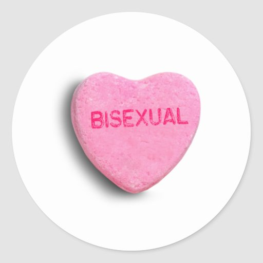 Corazón bisexual del caramelo pegatina redonda
