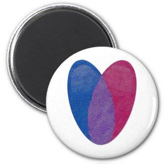 Corazón bisexual imán redondo 5 cm