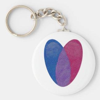 Corazón bisexual llavero redondo tipo pin