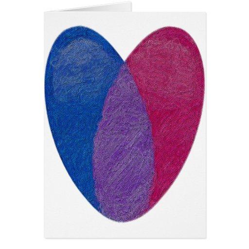Corazón bisexual tarjetas