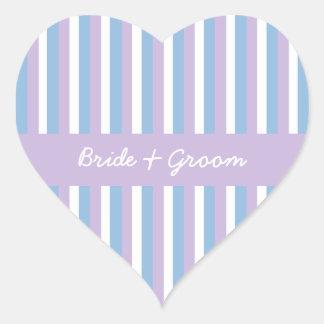 Corazón blanco del boda de la lila de las rayas de pegatina en forma de corazón