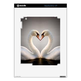 Corazón blanco del cisne calcomanías para iPad 2