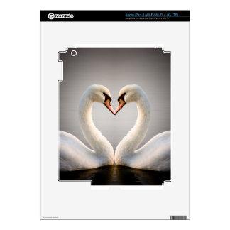 Corazón blanco del cisne iPad 3 skin