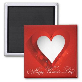 Corazón blanco del el día de San Valentín - Imán Cuadrado