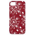 corazón blanco en el damasco romántico rojo del am iPhone 5 carcasas