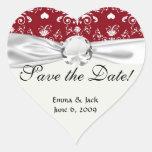 corazón blanco en el damasco romántico rojo del am calcomanía corazón personalizadas