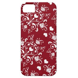 corazón blanco en el damasco romántico rojo del iPhone 5 fundas