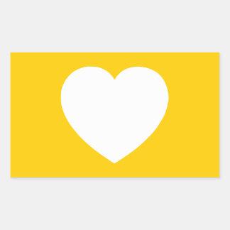 Corazón blanco en el oro pegatina rectangular