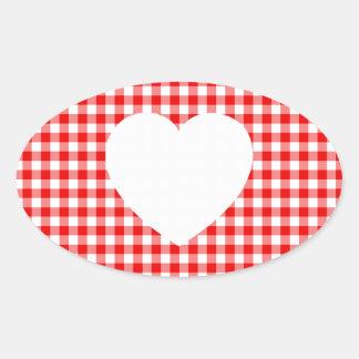 Corazón blanco en la guinga roja pegatina ovalada