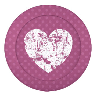 Corazón blanco K07 del Grunge de los lunares Paquete Grande De Tapa Botones