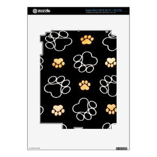 Corazón blanco negro de la impresión de la pata iPad 3 skins