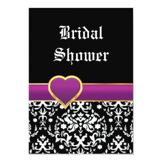 Corazón blanco negro del damasco que casa la ducha invitacion personal