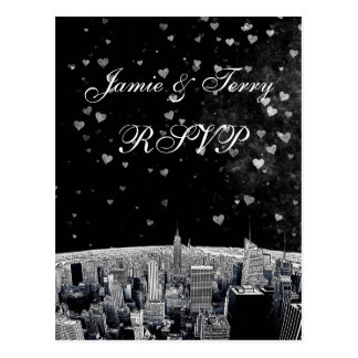 Corazón blanco negro grabado al agua fuerte RSVP 1 Tarjeta Postal