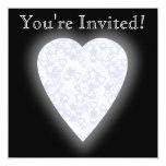 Corazón blanco y azul claro. Diseño modelado del Invitación 13,3 Cm X 13,3cm