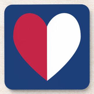 Corazón blanco y azul rojo posavaso