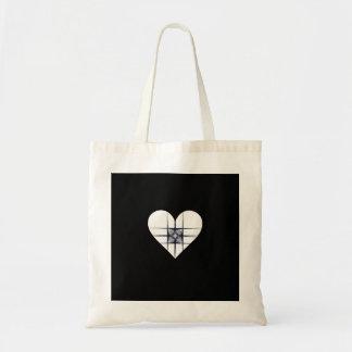 Corazón blanco y negro del arte del fractal bolsa tela barata