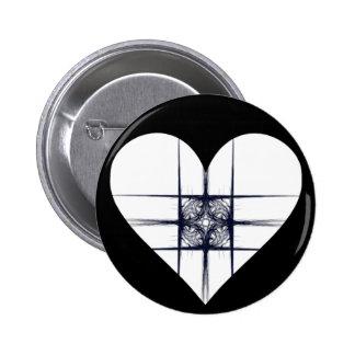 Corazón blanco y negro del arte del fractal pin redondo 5 cm