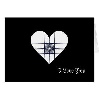 Corazón blanco y negro del arte del fractal tarjeta de felicitación