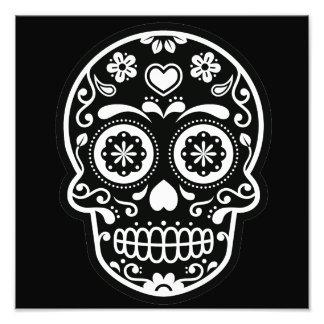 Corazón blanco y negro del cráneo del azúcar fotografías