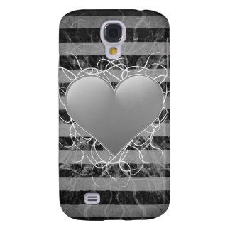 Corazón blanco y negro del emo punky gótico con la funda para galaxy s4