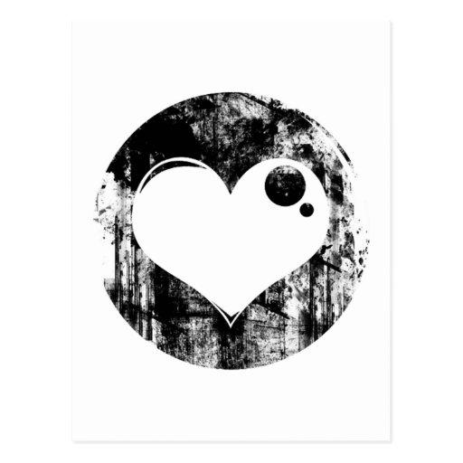Corazón blanco y negro del Grunge Tarjeta Postal