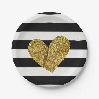 Corazón blanco y negro del oro de las rayas plato de papel de 7 pulgadas