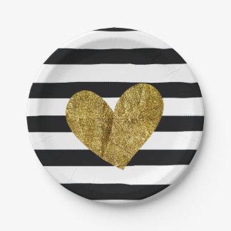 Corazón blanco y negro del oro de las rayas platos de papel