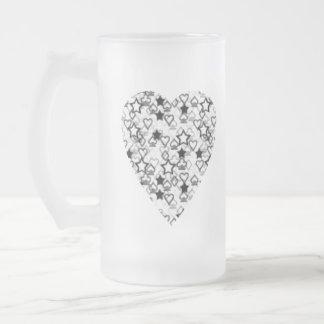 Corazón blanco y negro. Diseño modelado del Taza De Cristal