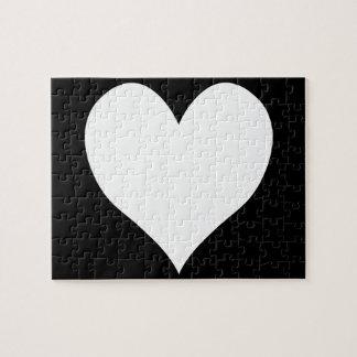 Corazón blanco y negro puzzles