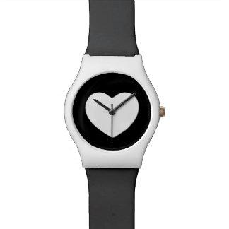 Corazón blanco y negro relojes de pulsera