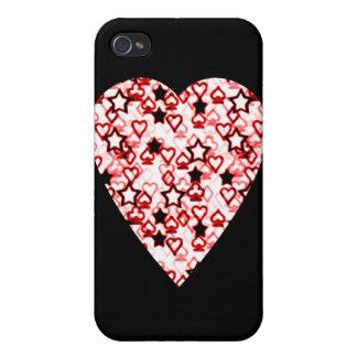 Corazón blanco y rojo oscuro. Diseño del corazón d iPhone 4 Protectores