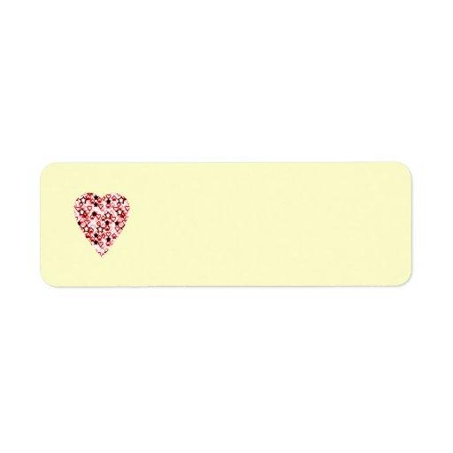 Corazón blanco y rojo oscuro. Diseño modelado del Etiqueta De Remite