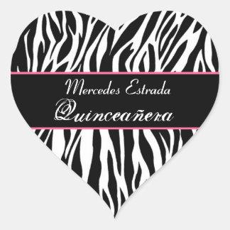 Corazón blanco y rosado negro de Quinceanera de la Pegatina En Forma De Corazón